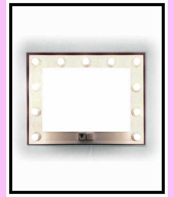 Espejo de camerino y maquillaje. Blanco. Horizontal. 100 x 76 cm.