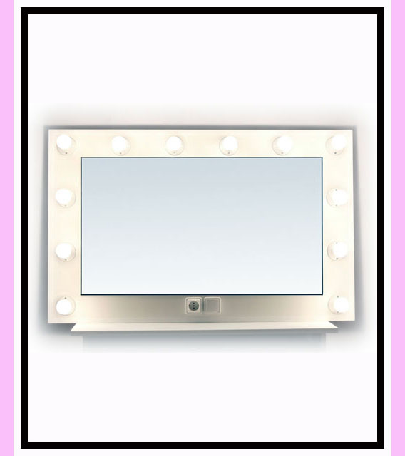 Espejo de camerino y maquillaje. Blanco. Horizontal. 120 x 76 cm.