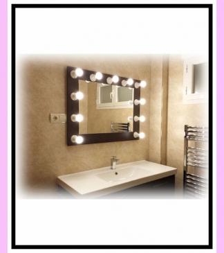 Espejo de camerino y maquillaje. Negro. Horizontal. 100 x 76 cm. Encendido externo.