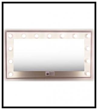 Espejo de camerino y maquillaje. Blanco. Horizontal. 140 x 76 cm.
