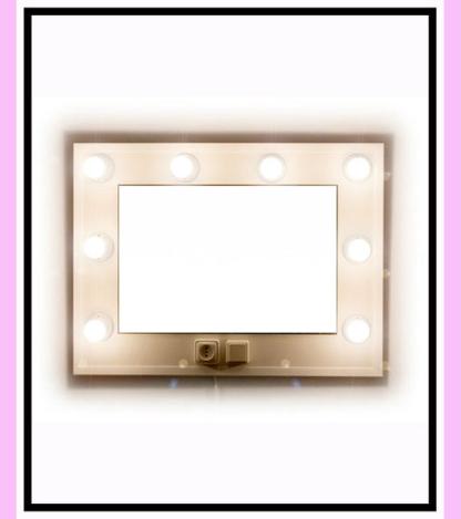Espejo de camerino y maquillaje. Blanco. Horizontal. 80 x 60 cm.
