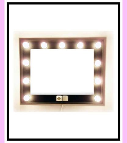 Espejo de camerino y maquillaje. Negro. Horizontal. 100 x 76 cm.