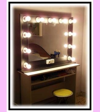 Espejo de camerino y maquillaje. Con soporte. Negro. Horizontal. 100 x 76 cm.