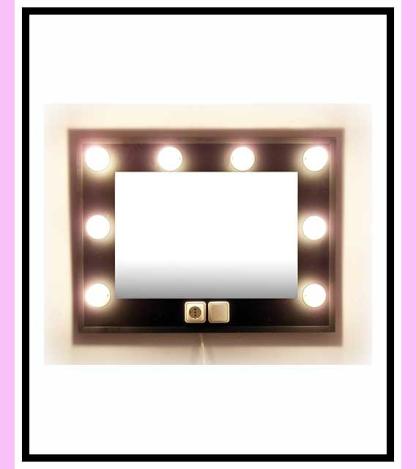 Espejo de camerino y maquillaje. Negro. Horizontal. 80 x 60 cm.