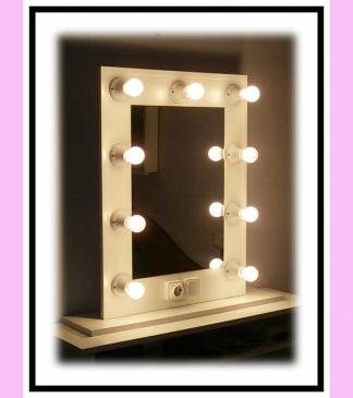 Espejo de camerino y maquillaje. Con soporte. Blanco. Vertical. 80 x 60 cm.