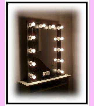 Espejo de camerino y maquillaje. Negro. Vertical. 100 x 76 cm.