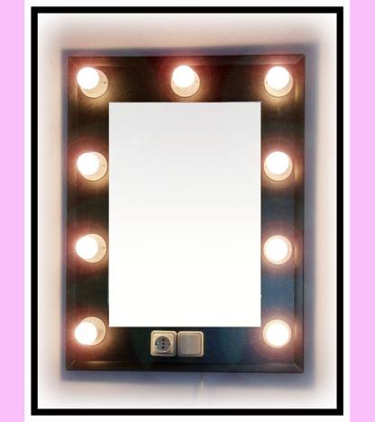 Espejo de camerino y maquillaje. Vertical. Negro. 80 x 60 cm.