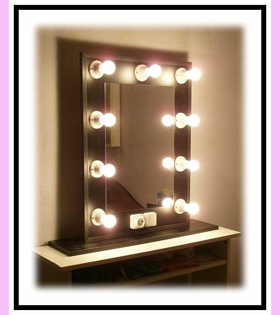 Espejo de camerino y maquillaje. Con soporte. Negro. Vertical. 80 x 60 cm.